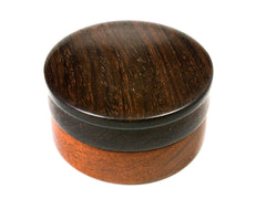 Reserved for Linda LV-1564 Brazilwood & Brazilian Rosewood Flat Pill Box, Snuff Box, Ring Holder, Trinket Box-SCREW CAP
