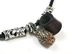 LV-1540 Snakewood & Palm Nut Secret Compartment Pendant Necklace, Pill Fob, Cremation Jewelry -SCREW CAP