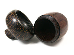 LV-1578 Brazilian Rosewood & Black Palm Acorn Trinket Box, Keepsakes, Jewelry Box-SCREW CAP