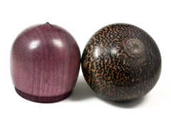 LV-1581 Purpleheart & Black Palm Wooden Acorn Trinket Box, Keepsakes, Jewelry Box-SCREW CAP
