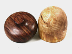 LV-1582  Ponderosa Pine Burl & Cocobolo Wooden Acorn Trinket Box, Keepsakes, Jewelry Box-SCREW CAP