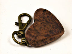 LV-1603 Bay Laurel Burl Wooden Heart Shaped Charm, Keychain, Wedding Favor-HAND CARVED