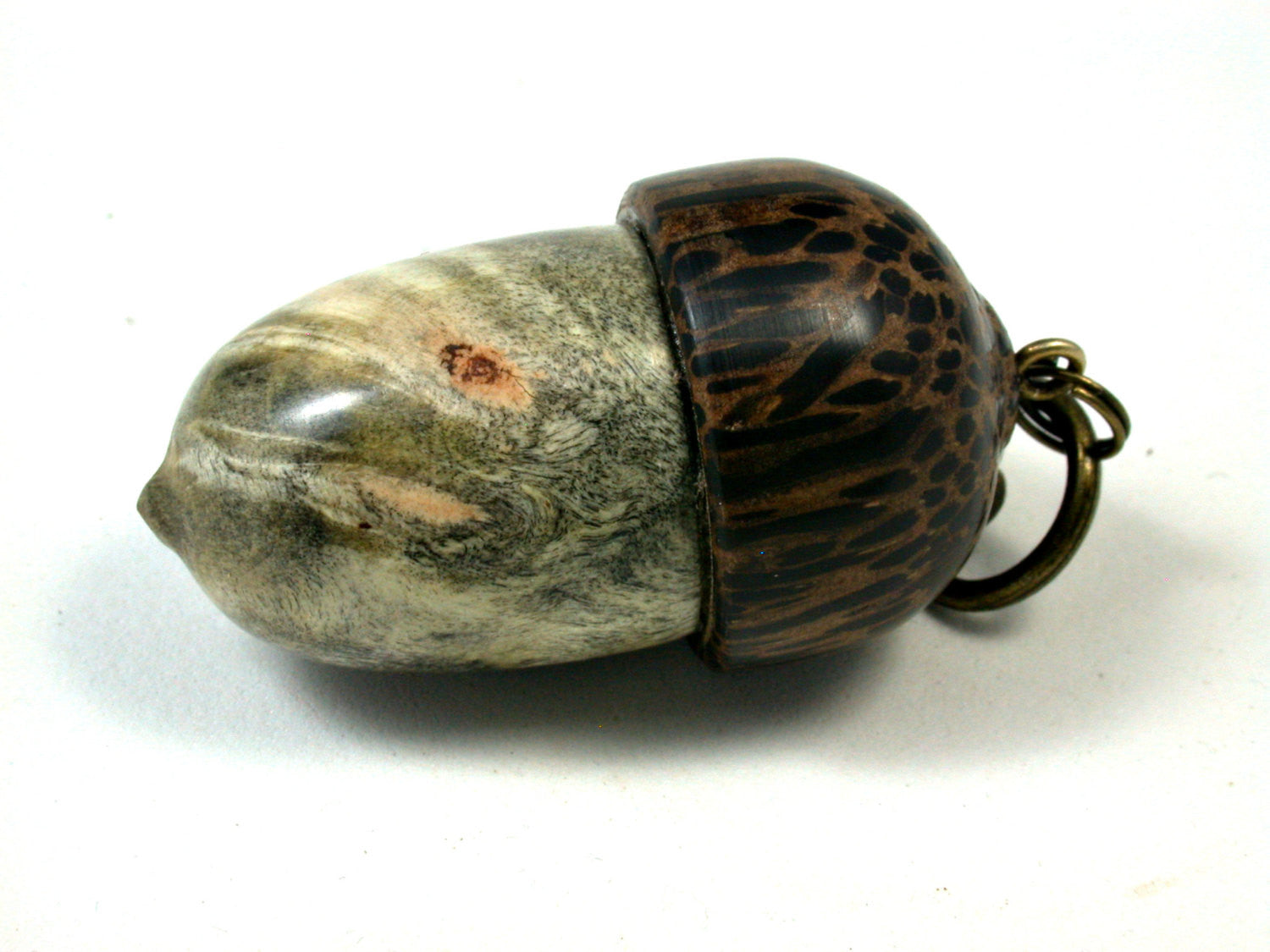 LV-1645 Buckeye Burl & Black Palm Acorn Key Fob, Pill Holder, Secret Compartment-SCREW CAP