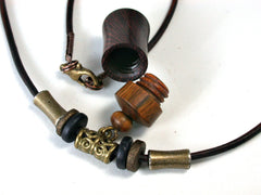 LV-1272 Camatillo &  Lignum Vitae Secret Compartment Pendant Necklace, Pill Fob, Cremation Jewelry -SCREW CAP
