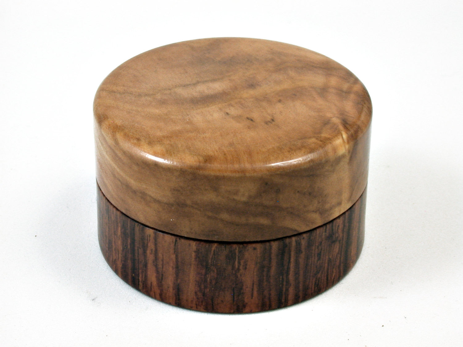 LV-1690  Cocobolo & Olive Burl Wooden Flat Pill Box, Ring Holder, Jewelry Box-SCREW CAP