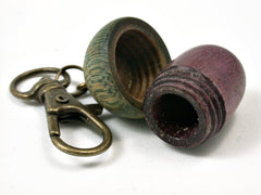 LV-1682  Purpleheart & Verawood Acorn Key Fob, Pill Holder, Memorial Pendant-SCREW CAP