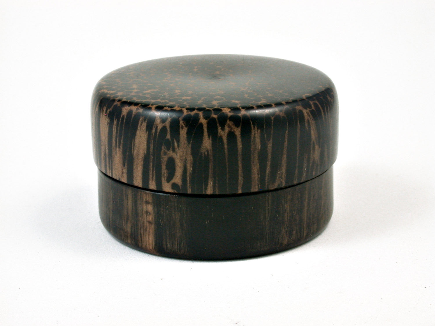 LV-1689  Mun Ebony & Black Palm Wooden Flat Pill Box, Ring Holder, Jewelry Box-SCREW CAP