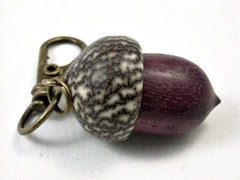 LV-1699 Purpleheart & Betelnut Acorn Key Fob, Pill Holder, Cash Stash-SCREW CAP