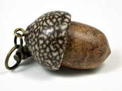 LV-1780 Teak Burl & Betelnut Wooden Acorn Key Fob, Pill Holder, Secret Compartment-SCREW CAP