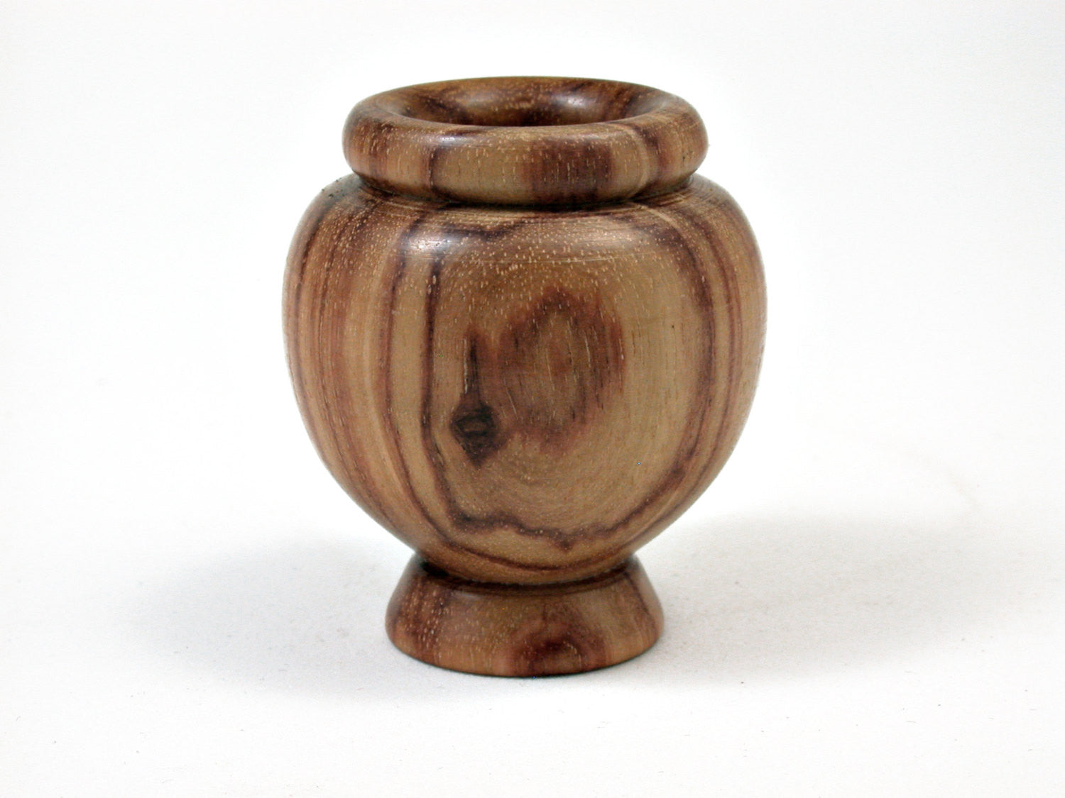 LV-0365 Tulipwood Miniature Wooden Vase, Footed Bowl, Hollow Form-CUTE