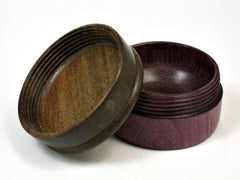 LV-1781 Purpleheart & Greenheart Wooden Flat Pill Box, Ring Holder, Jewelry Box-SCREW CAP