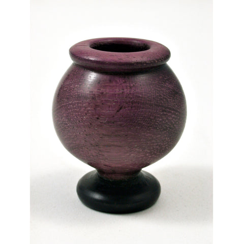 LV-0363 Purpleheart & Ebony Miniature Wooden Vase, Pedestal Bowl, Hollow Form-CUTE