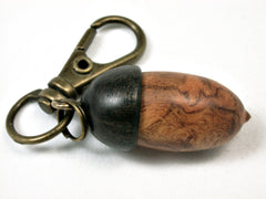 LV-1702  Amboyna Burl & Ebony Acorn Key Fob, Pill Holder, Memorial Pendant-SCREW CAP