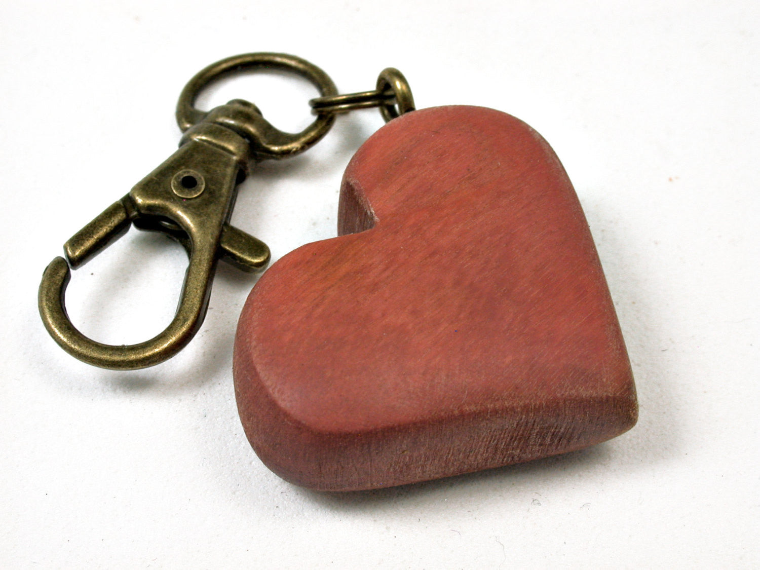LV-1749  Pink Ivory Wooden Heart Shaped Charm, Keychain, Wedding Favor-HAND CARVED