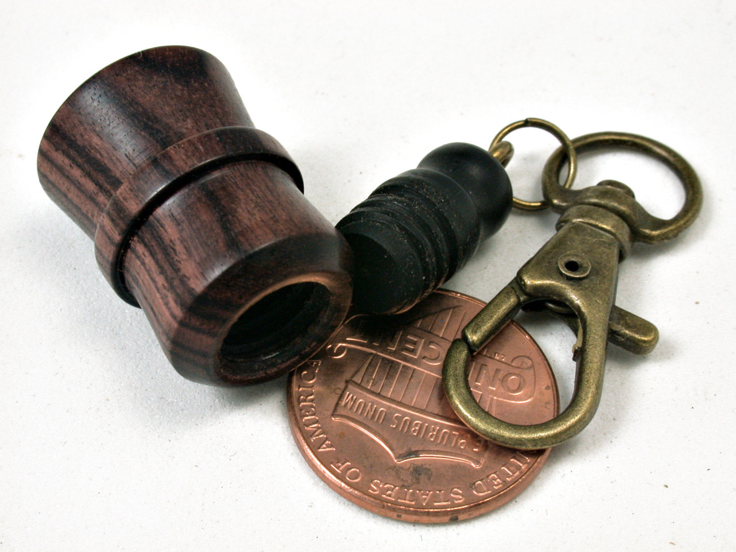 LV-1822 Kingwood & Ebony Secret Compartment, Pill Pendant, Memorial Jewelry-SCREW CAP