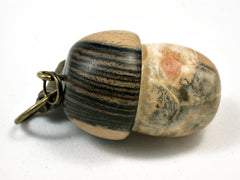LV-1835 Box Elder Burl &  Ebony Acorn Charm, Pill Holder, Memorial Pendant-SCREW CAP