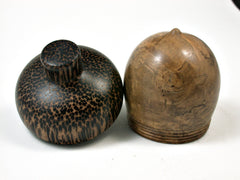 LV-1870  Pollyana Burl & Black Palm Acorn Trinket Box, Keepsakes, Jewelry Box-SCREW CAP