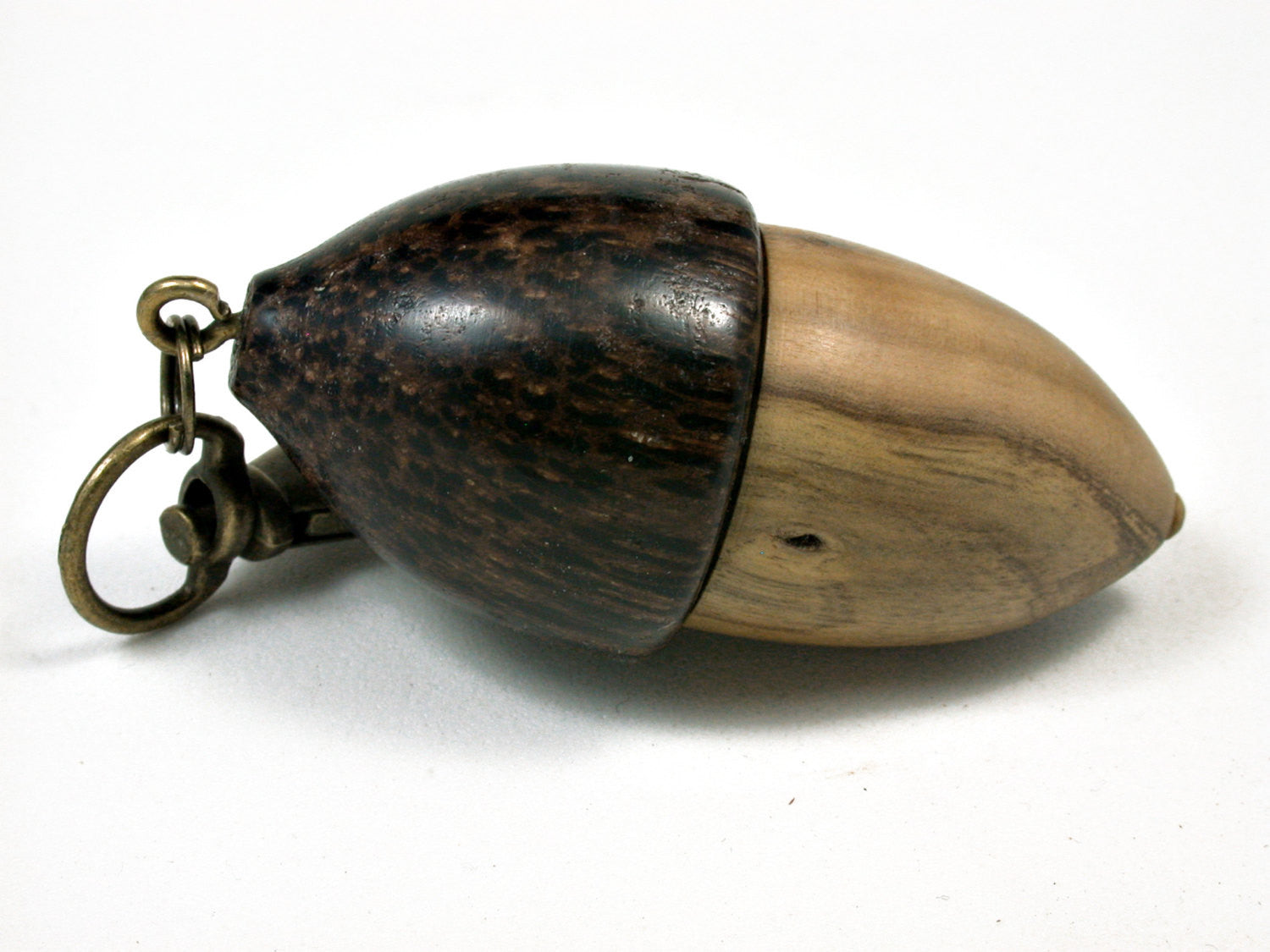 LV-1875 Creosote & Black Palm Acorn Pendant Charm, Pill Holder, Cash Stash-SCREW CAP