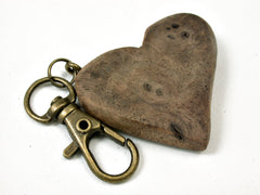 LV-1740 Black Walnut Burl Wooden Heart Shaped Charm, Keychain, Wedding Favor-HAND CARVED