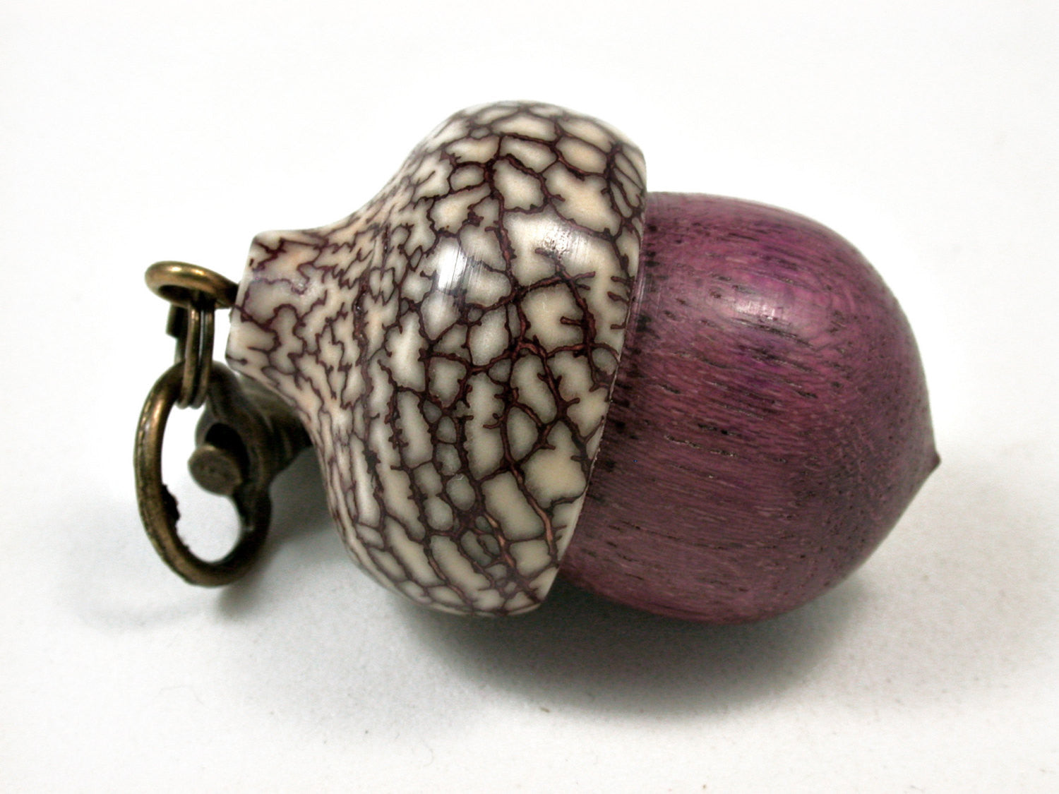LV-1902 Purpleheart & Betelnut  Acorn Pendant Charm, Pill Holder-SCREW CAP