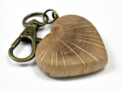 LV-1890 Coast Live Oak Wooden Heart Shaped Charm, Keychain, Wedding Favor-HAND CARVED