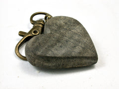 LV-1759 Curly Buckeye Wooden Heart Shaped Charm, Keychain, Wedding Favor-HAND CARVED
