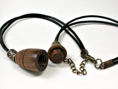 LV-1860 Lignum Vitae Pendant Necklace, Secret Compartment, Memorial Jewelry -SCREW CAP