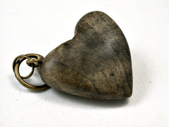 LV-1896 Buckeye Burl Wooden Heart Shaped Charm, Keychain, Wedding Favor-HAND CARVED