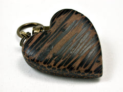 LV-1899 Black Palm Wooden Heart Shaped Charm, Keychain, Wedding Favor-HAND CARVED