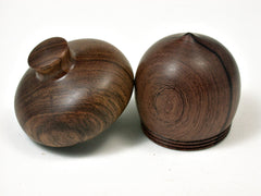 LV-1927 Siamese Rosewood & Tambooti Wooden Acorn Trinket Box, Keepsake, Jewelry Box-SCREW CAP