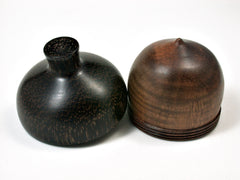 LV-1947 Curly Koa & Black Palm Acorn Jewelry Box, Pill Box, Trinket Box-SCREW CAP