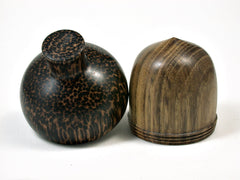 LV-1952 Black Locust & Black Palm Acorn Jewelry Box, Pill Box, Trinket Box-SCREW CAP