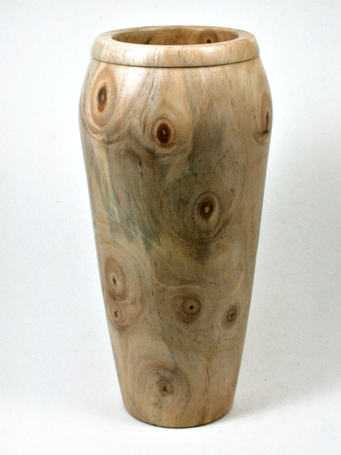 LV-1980  Extremely Knotty Italian Stone Pine Hand Turned Wooden Weed Pot, Tall Vase, Vessel