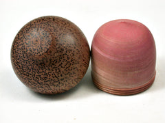LV-2008 Pink Ivory & Red Palm Wooden Acorn Trinket Box, Keepsake, Jewelry Box-SCREW CAP