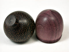 LV-2014 Purpleheart & Black Palm Acorn Trinket Box, Keepsake, Jewelry Box-SCREW CAP