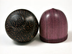 LV-2056 Purpleheart & Black Palm Acorn Jewelry Box, Pill Box, Trinket Box-SCREW CAP