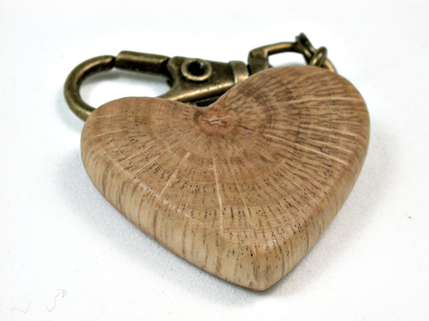 LV-2018 Coast Live Oak Wooden Heart Charm, Keychain, Wedding Favor-HAND CARVED