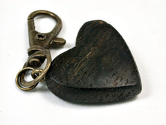 LV-2027 Bog Oak Wooden Heart Charm, Keychain, Wedding Favor-HAND CARVED