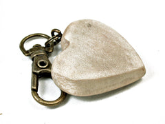 LV-2038 American Holly Wooden Heart Charm, Keychain, Wedding Favor-HAND CARVED