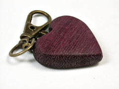 LV-2040 Purpleheart Wooden Heart Charm, Keychain, Wedding Favor-HAND CARVED