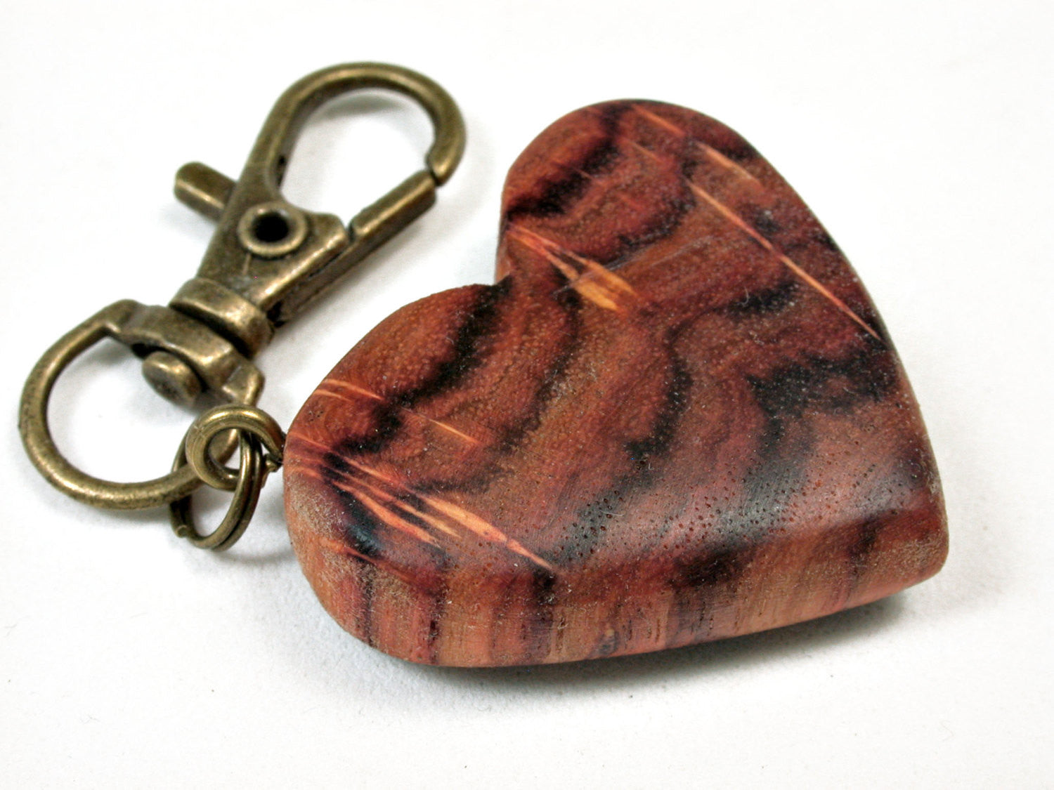 LV-2060 Tulipwood Wooden Heart Charm, Keychain, Wedding Favor-HAND CARVED