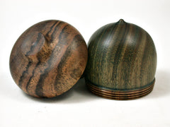 Reserved for Pam: LV-2057 Verawood & Bocote Acorn Jewelry Box, Pill Box, Trinket Box-SCREW CAP