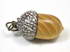 LV-2094 Acorn Pendant Box, Charm, Pill Holder from Osage Orange & Betelnut-SCREW CAP