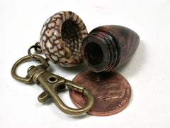 LV-2103 Acorn Pendant Box, Charm, Pill Holder from Honduran Rosewood Burl & Betelnut-SCREW CAP