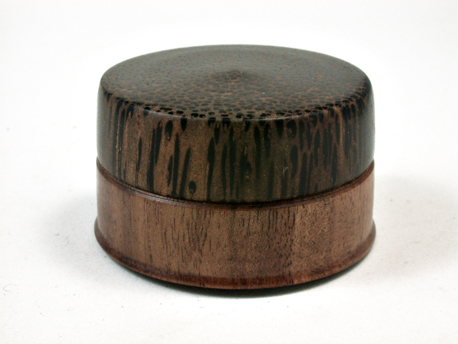 LV-2154 Ironwood Acacia & Black Palm Flat Pill Box, Ring Holder, Jewelry Box-SCREW CAP