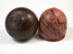 LV-2147 Tulipwood & Brown Ebony Acorn Jewelry Box, Pill Box, Trinket Box-SCREW CAP