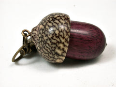 LV-2199 Purpleheart & Betelnut Acorn Pendant Box, Charm, Pill Holder-SCREW CAP