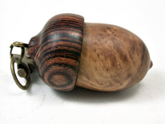 LV-2218 Olive Burl & Cocobolo Acorn Pendant Box, Charm, Pill Holder-SCREW CAP