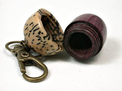 LV-2200 Purpleheart & Yollilo Palm Nut Acorn Pendant Box, Charm, Pill Holder-SCREW CAP