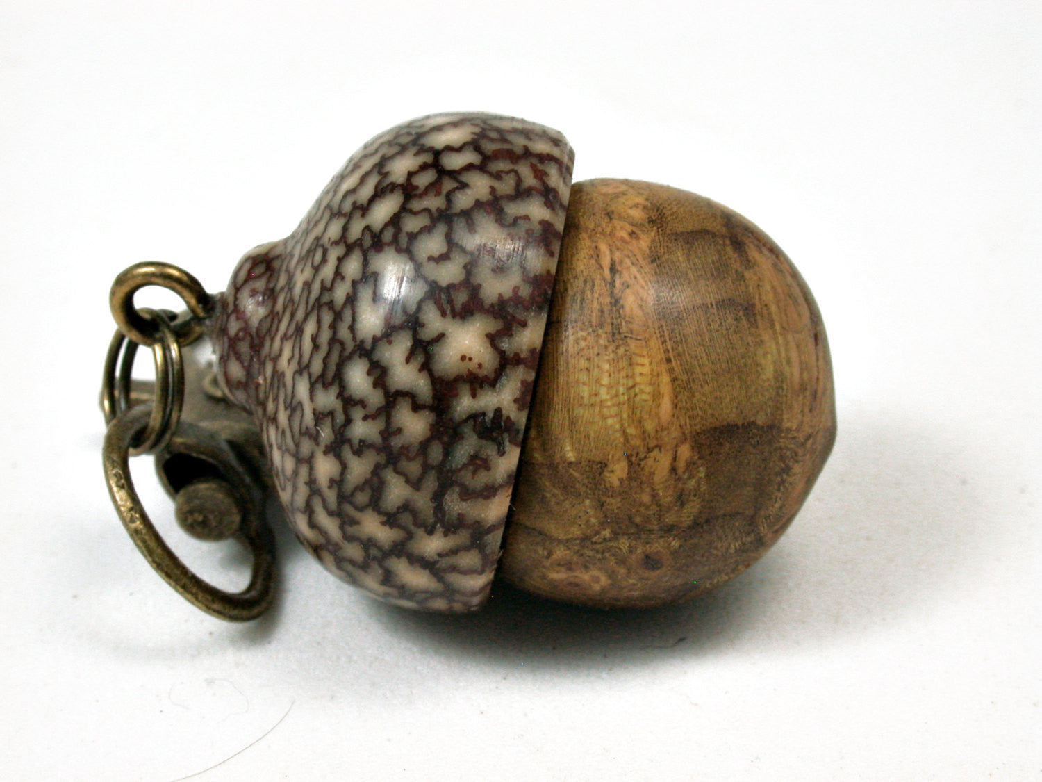 LV-2207 Redbud Burl & Betelnut Acorn Pendant Box, Charm, Pill Holder-SCREW CAP